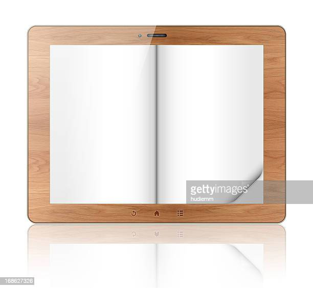 Blank wood e-reader (Clipping path!) isolated on white background
