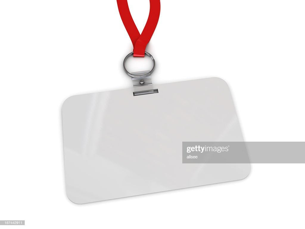 blank work badge hanging from red lanyard stock photo getty images