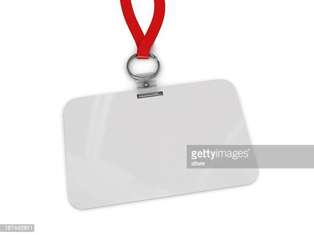 Blank work badge hanging from red lanyard