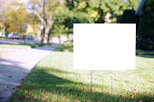 blank yard sign with copy space during fall