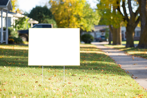 blank yard sign with copy space during fall 613040822