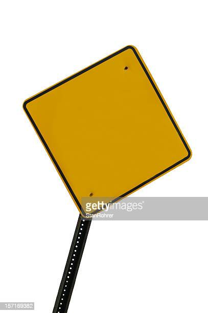 Blank Yellow Safety Road Sign Isolated