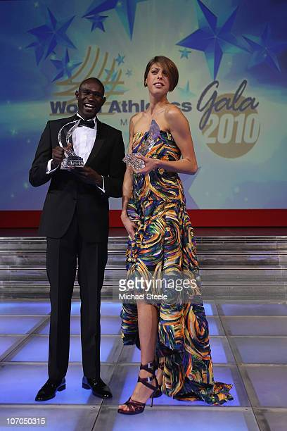 Blanka Vlasic of Croatia and David Rudisha of Kenya receive the male and female athletes of the year award during the IAAF World Gala at The Sporting...