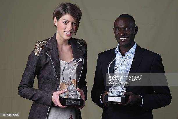 Blanka Vlasic of Croatia and David Rudisha of Kenya receive the athletes of the year award during the IAAF World Gala at The Sporting Club on...