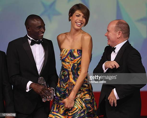 Blanka Vlasic of Croatia and David Rudisha of Kenya receive the athletes of the year award from Prince Albert II of Monaco during the IAAF World Gala...