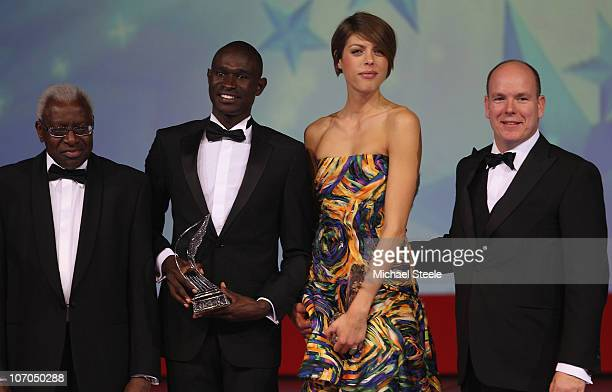 Blanka Vlasic of Croatia and David Rudisha of Kenya receive the athletes of the year award from Prince Albert II of Monaco and Iaaf President Lamine...