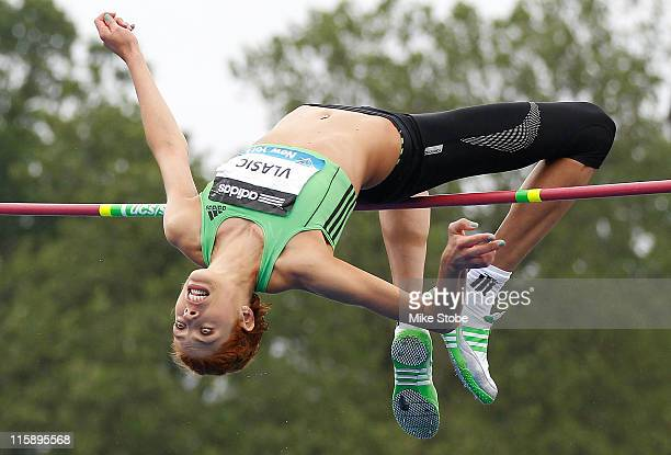 Blanka Vlasic of Croatia attempts a High Jump during the adidas Grand Prix at Icahn Stadium on June 11 2011 in New York City