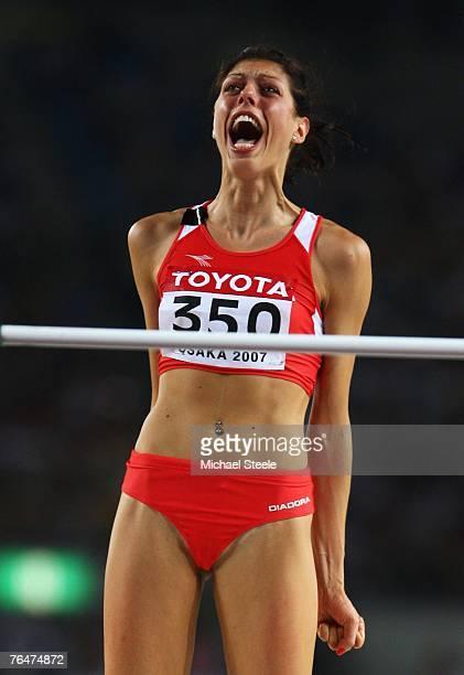 Blanka Vlasic of Croatia celebrates a clean jump on the way to winning the Women's High Jump Final on day nine of the 11th IAAF World Athletics...