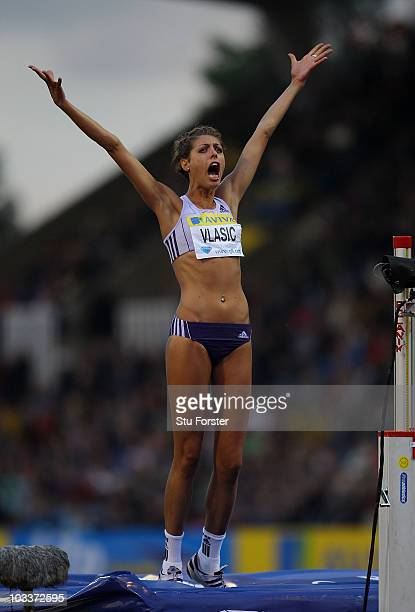 Blanka Vlasic of Croatia celebrates clearing the bar in the Womens High Jump during the Aviva London Grand Prix at Crystal Palace on August 13 2010...