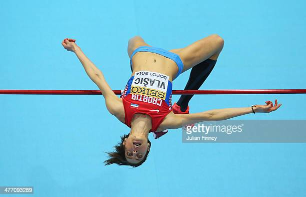Blanka Vlasic of Croatia competes in the Women's High Jump qualification during day one of the IAAF World Indoor Championships at Ergo Arena on March...