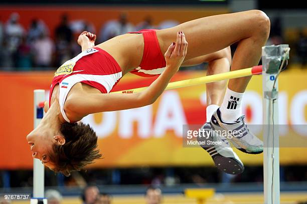Blanka Vlasic of Croatia competes in the Womens High Jump during Day 2 of the IAAF World Indoor Championships at the Aspire Dome on March 13, 2010 in...