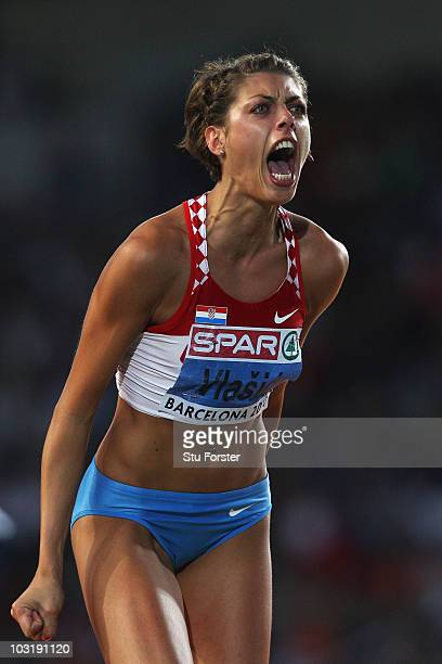 Blanka Vlasic of Croatia competes in the Womens High Jump Final during day six of the 20th European Athletics Championships at the Olympic Stadium on...