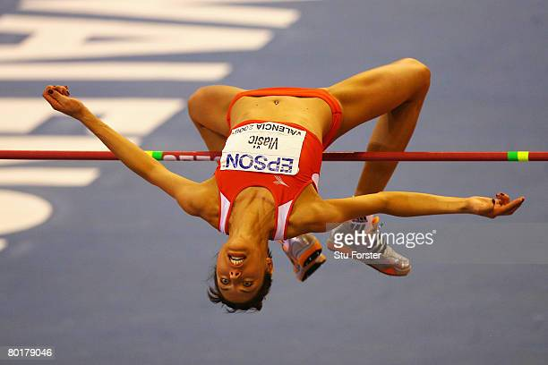 Blanka Vlasic of Croatia competes in the Womens High Jump Final during the 12th IAAF World Indoor Championships at the Palau Lluis Puig on March 9,...