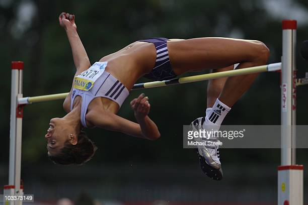Blanka Vlasic of Croatia in the women's high jump during the Aviva London Grand Prix meeting at Crystal Palace on August 13 2010 in London England