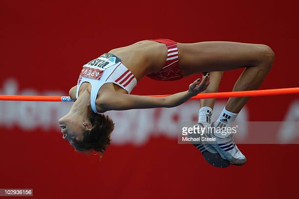 Blanka Vlasic of Croatia in the women's high jump during the IAAF Diamond League meeting at the Stade de France on July 16 2010 in Paris France