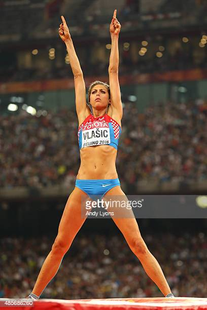 Blanka Vlasic of Croatia reacts after competing in the Women's High Jump final during day eight of the 15th IAAF World Athletics Championships...