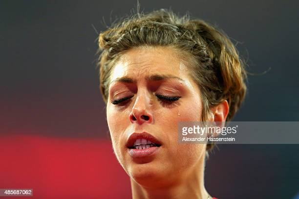 Blanka Vlasic of Croatia reacts after winning silver in the Women's High Jump final during day eight of the 15th IAAF World Athletics Championships...