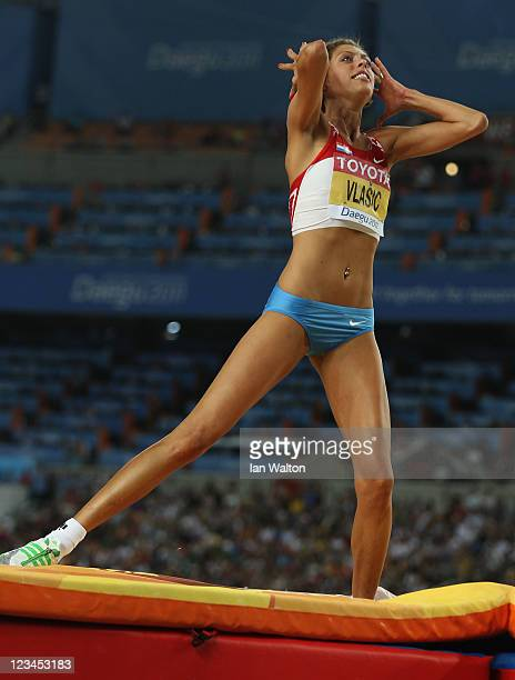 Blanka Vlasic of Croatia reacts during the women's high jump final during day eight of the 13th IAAF World Athletics Championships at the Daegu...