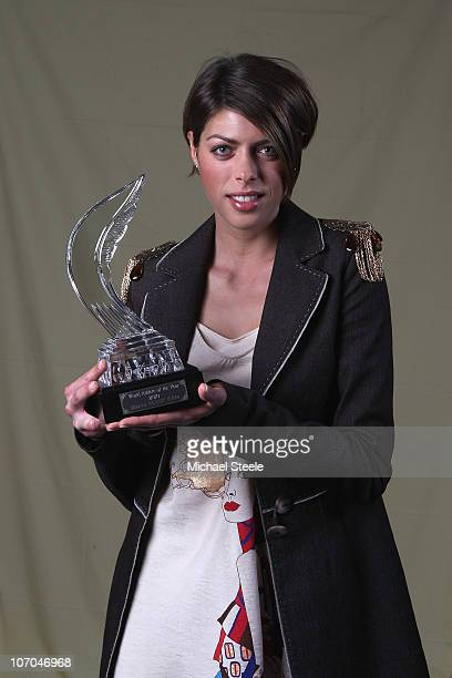 Blanka Vlasic of Croatia with the female athlete of the year trophy during the IAAF World Gala at The Sporting Club on November 21 2010 in Monte...