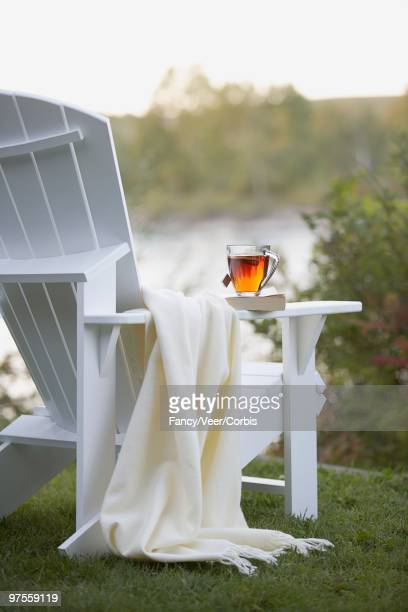 Blanket and tea cup on Adirondack chair