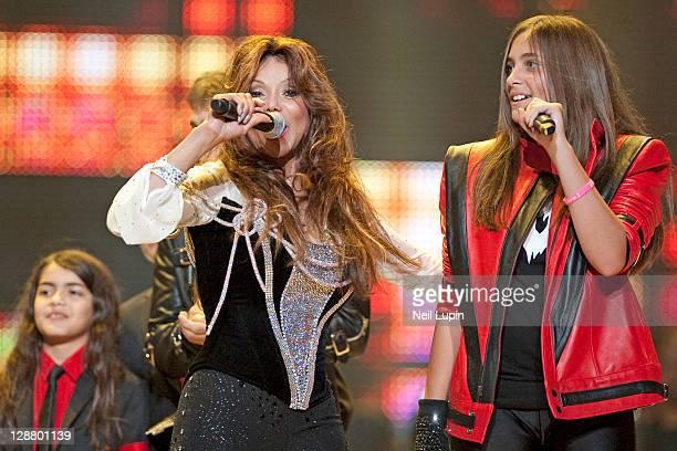 Blanket Jackson LaToya Jackson and Paris Jackson on stage during the Michael Forever Tribute at Millenium Stadium on October 8 2011 in Cardiff United...
