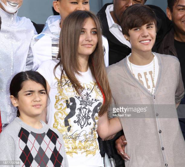 """Blanket Jackson, Paris Jackson and Justin Bieber attend the Michael Jackson """"Immortalized"""" hand and footprint ceremony held at Grauman's Chinese..."""