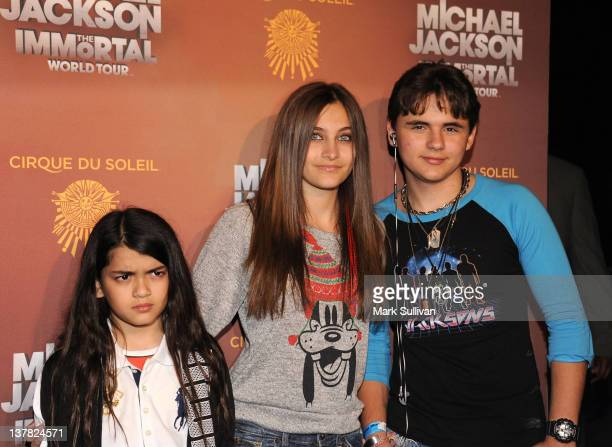 Blanket Jackson Paris Jackson and Prince Jackson attend Cirque du Soleil's Michael Jackson The Immortal World Tour Opening Night at Staples Center on...