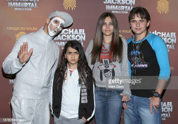 Blanket Jackson Paris Jackson and Prince Jackson attend the Los Angeles premiere of Michael Jackson 'THE IMMORTAL' World Tour at Staples Center on...