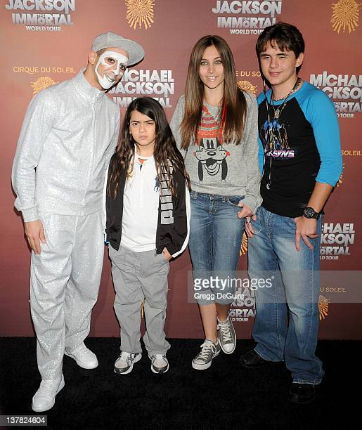 """Blanket Jackson, Paris Jackson and Prince Michael Jackson arrive at Los Angeles Opening of """"Michael Jackson THE IMMORTAL World Tour"""" at Staples..."""