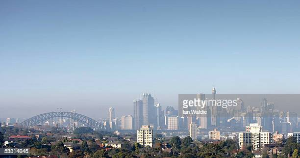 A blanket of smog envelops the city of Sydney August 2 2005 in Sydney Australia