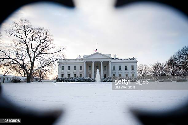 A blanket of snow covers the North Lawn of the White House in Washington DC January 12 2011 A broad stretch of the northeastern United States...