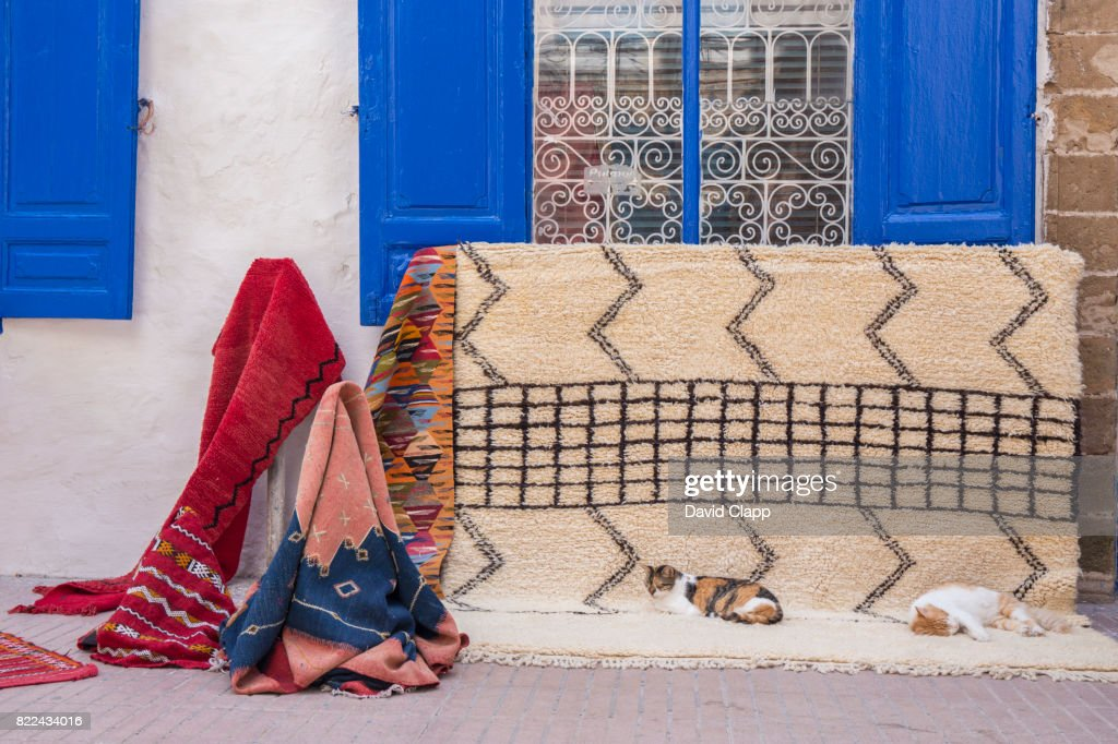 Blankets and scarves in Essaouira, Morocco : Stock Photo
