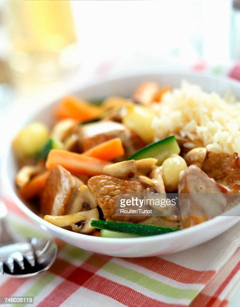 Blanquette with vegetables and rice