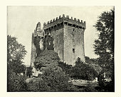Blarney Castle, medieval stronghold, near Cork Ireland, Antique photograph
