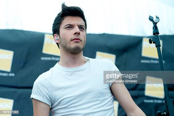 Blas Canto of Spanish boyband Auryn performs a song from the movie Viral on stage at Fnac tent during 16 Malaga Film Festival on April 24 2013 in...