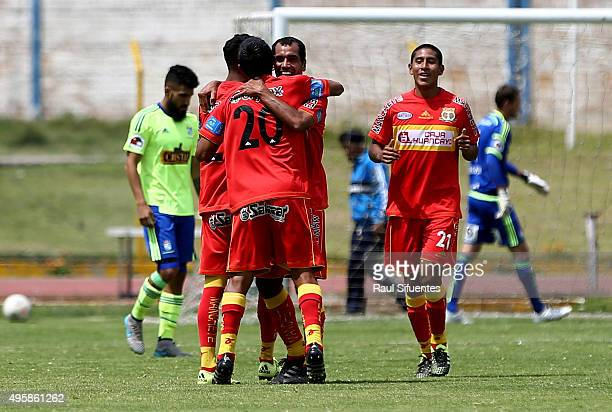 Blas Lopez of Sport Huancayo celebrates after scoring the second goal of his team against Sporting Cristal during a match between Sport Huancayo and...