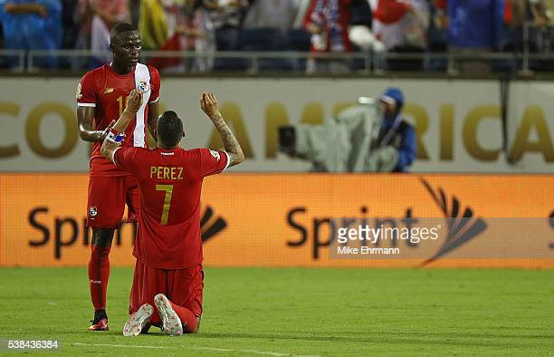 Blas Perez and Abdiel Arroyo of Panama celebrate winning a match against the Bolivia during the 2016 Copa America Group D at Camping World Stadium on...