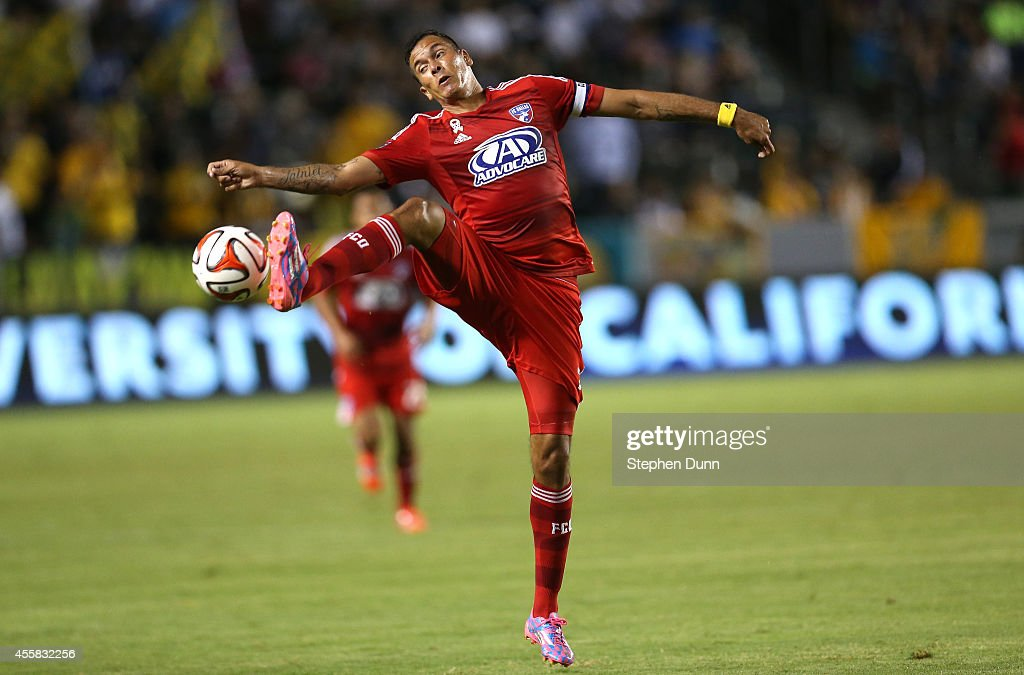 Blas Perez #7 of FC Dallas stops the ball against the Los Angeles Galaxy at StubHub Center on September 20, 2014 in Los Angeles, California.