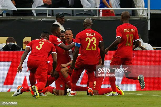 Blas Perez of Panama celebrates with teammates after scoring the first goal during a group D match between Panama and Bolivia at Camping World...
