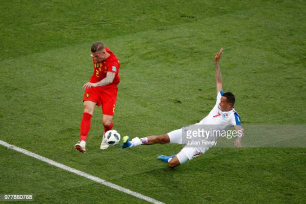 Blas Perez of Panama defends a shot from Toby Alderweireld of Belgium during the 2018 FIFA World Cup Russia group G match between Belgium and Panama...