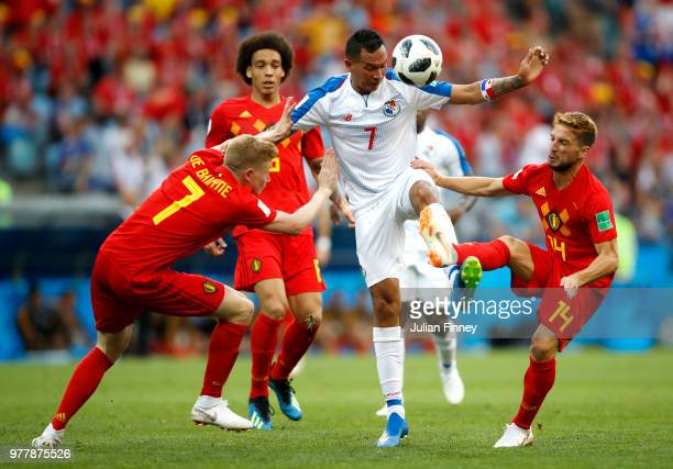 Blas Perez of Panama is challenged by Kevin De Bruyne and Dries Mertens of Belgium during the 2018 FIFA World Cup Russia group G match between...