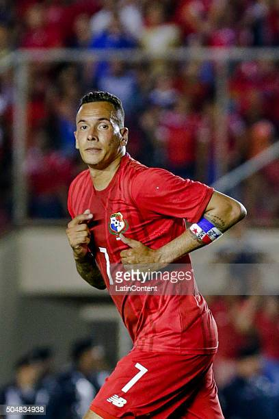 Blas Perez of Panama runs in the field during the match between Cuba and Panama as part of the Copa America Centenario Qualifiers at Rommel Fernandez...
