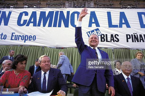 Blas Pinar introduces his candidacy to the European Parliament Blas Pinar in an electoral meeting next to the French fascist Jean Marie Le Pen