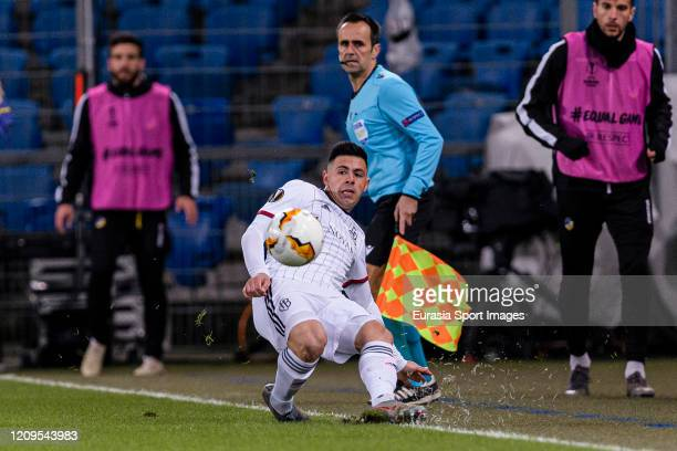 Blas Riveros of Basel in action during the UEFA Europa League round of 32 second leg match between FC Basel and APOEL Nikosia at St JakobPark on...