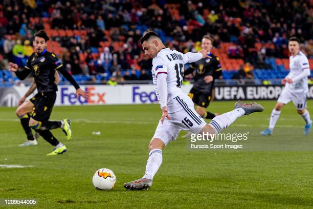 Blas Riveros of Basel looks to bring the ball down during the UEFA Europa League round of 32 second leg match between FC Basel and APOEL Nikosia at...