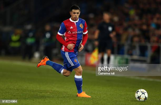 Blas Riveros of FC Basel during the UEFA Champions League Round of 16 First Leg match between FC Basel and Manchester City at St JakobPark on...