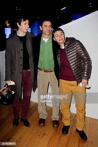Blas Roca Rey and his sons attend the 'Guest' premiere at Golden theater in Rome on February 4