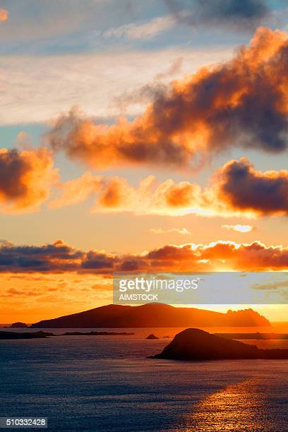 Blasket Islands at sunset in county Kerry, Ireland