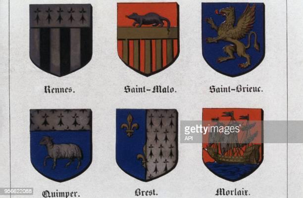 Blasons des villes de Rennes SaintMalo SaintBrieuc Quimper Brest et Morlaix représentés dans l'Histoire des villes de France de Guilbert en 1859