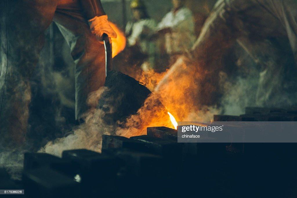 Blast furnace at metallurgical plant : Stock Photo
